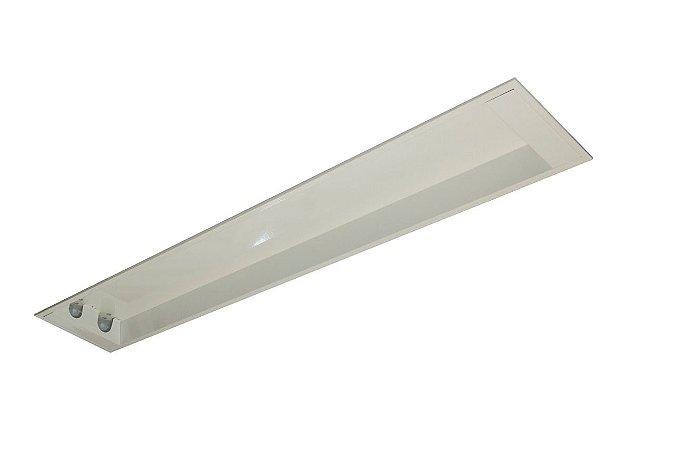 Luminária Comercial de embutir 2x18w1250mm Tubular T8 Branca