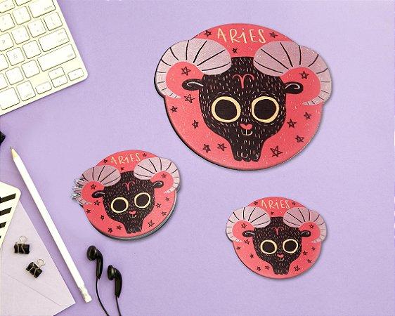 ÁRIES - mouse pad + bloco + porta-copos