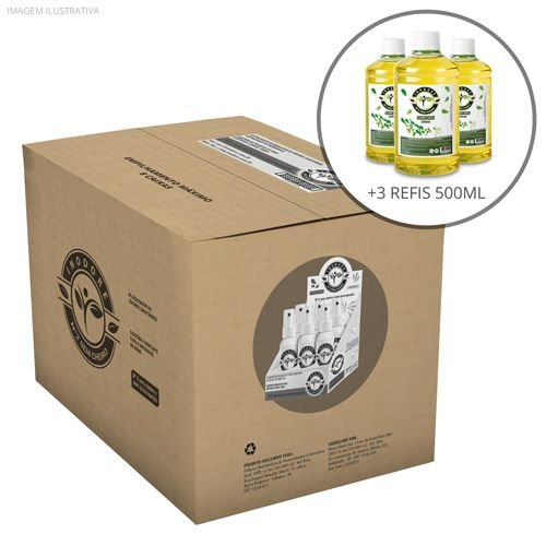 3 Refis Capim-Limão 500ml + Caixa com 4 Displays Alecrim