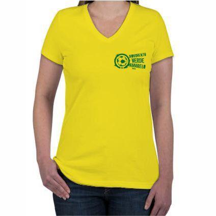 Camiseta Feminina Amarela logo pequeno