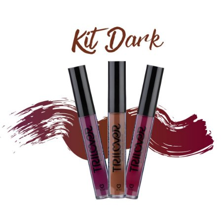 KIT DARK COM 03 BATONS LÍQUIDO MATTE TRILOVER  - CABERNET - COFFE - REBEL