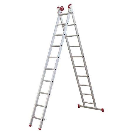 Escada Extensiva de Alumínio 9 Degraus 2,73x4,44