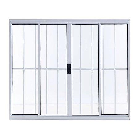 Janela de Alumínio de Correr 100 A X 150L 4 Folhas Branco Com Grade Esal