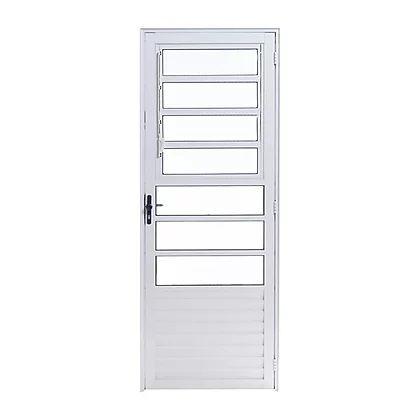 Porta de Alumínio Branco Basculante 2,10A X 0,80L Abertura para Esquerda Esal