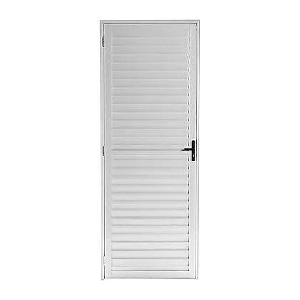 Porta de Alumínio Palheta Branca 2,10A X 80L Abertura para Esquerda