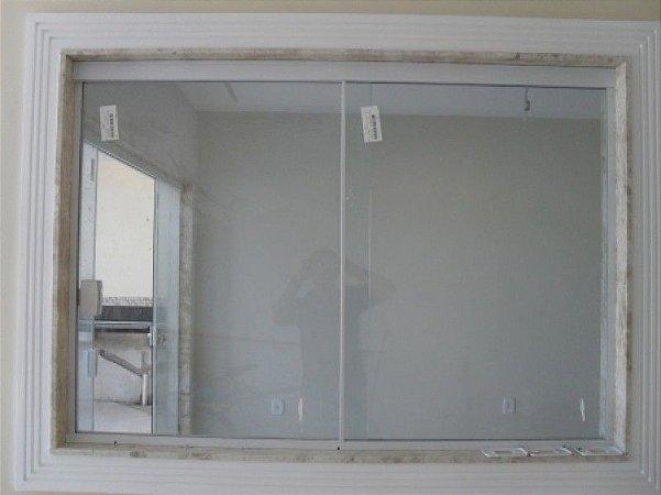 Janela de correr de vidro temperado 2 folhas 1,00  x 1,20 ALT Alumínio em Cor Branca