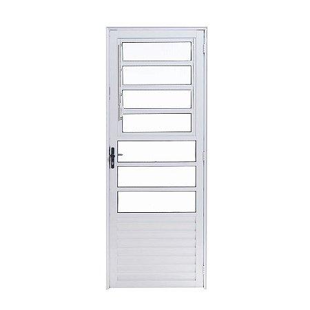 Porta de Alumínio Branco Basculante 2,10A X 0,70L Abertura para Esquerda