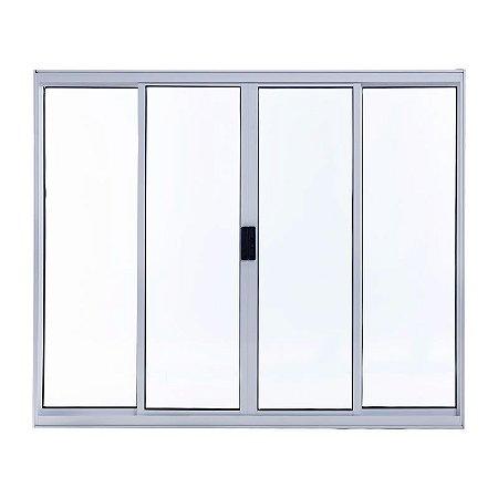 Janela de Alumínio de Correr 100A X 100L (2 Fixas e 2 Móveis) 4 Folhas Branco Esal