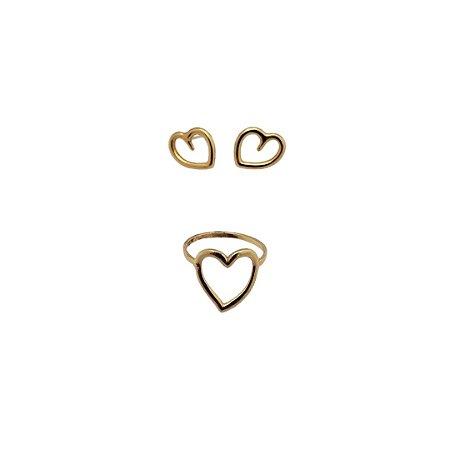 Brinco Coração P Anna Prata e Anel de Coração Aro 15