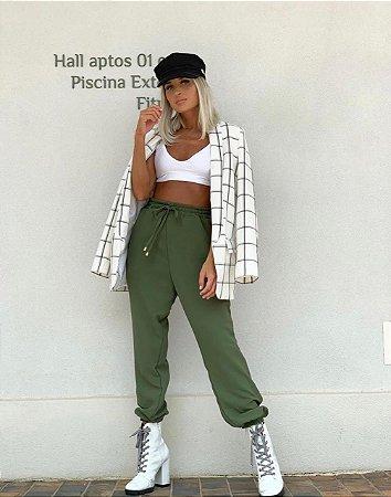 Calça alfaiataria jogging verde militar