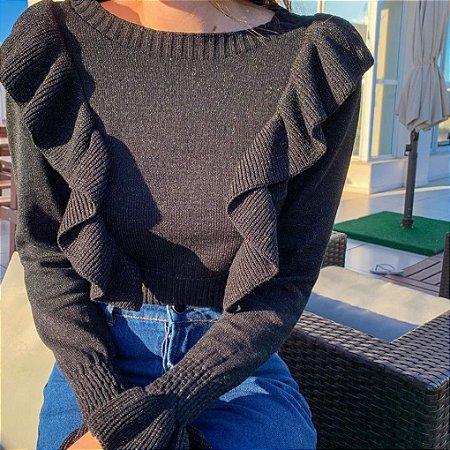 Tricot babados preto