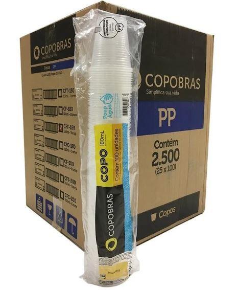 Caixa Copo 180ml transp PP c/ 2500 Copobras
