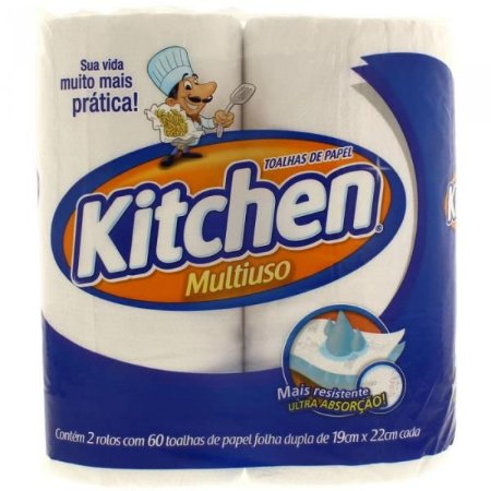 Papel toalha Kitchen - 2 rolos 60 toalhas