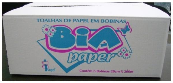 Toalha bobina 20x200x6 Bia Paper 100% celulose virgem Isapel