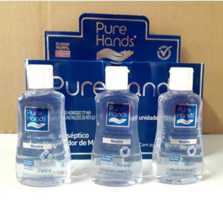 PURE HANDS ALCOOL GEL P/ MAOS NEUTRO 60 ML