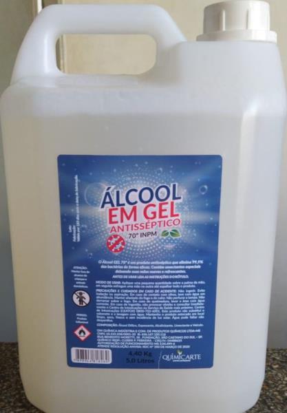 Alcool Gel 70 Antisseptico 5L (4,3kg) Quimicarte