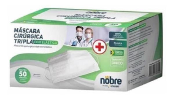 Mascaras cirurgica tripla com elastico (em caixa c/50un.) NOBRE