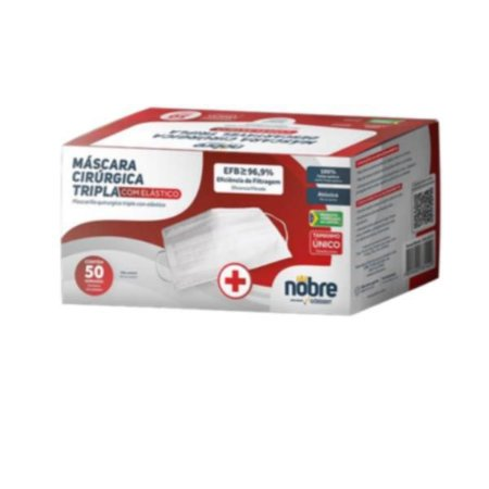 Mascaras Cirurgicas Tripla com elastico Filtro 96,9% (caixa c/ 50 Und) NOBRE