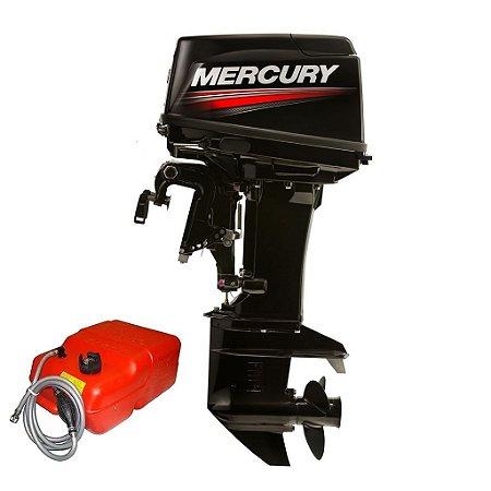 Motor de popa Mercury  50 HP ELPTO 2T - Comando e Power Trim rab. 20 pol. - Preço Produtor Rural e PJ