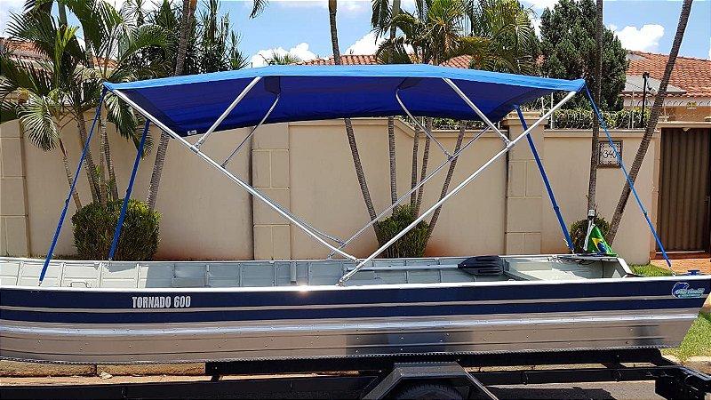 Barco de alumínio Martinelli Tornado 600 BA + Capota com 4 arcos e 3 metros - (Frete a consultar)