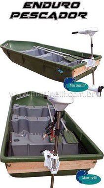 Barco a remo Rodoplast Enduro 310 PESCADOR + motor elétrico Phantom 54 lb marinizado - Acompanha: Carregador Martinelli 5A + Carretilha + Bolsa de apetrechos Martinelli G - Frete sob consulta