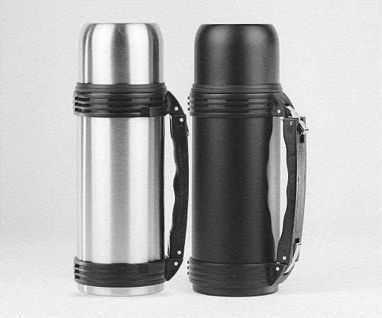 KIT com 2 Garrafas Térmica 1 Litro Inox e Black