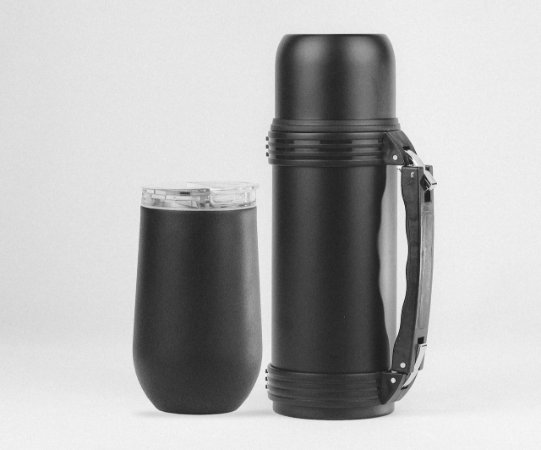 KIT Copo Belli  Black + Garrafa Térmica 1 Litro Black