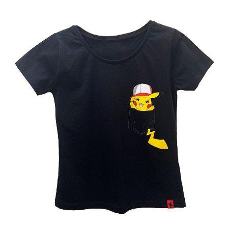 Camiseta Feminina Pikachu Bolso