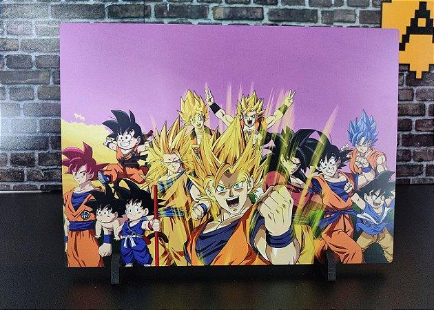 Placa Decorativa de Metal Goku Versions HD