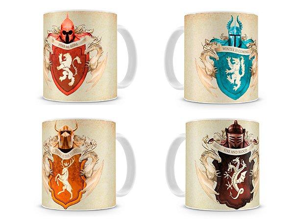 Kit 4 Canecas Game of Thrones Brasões