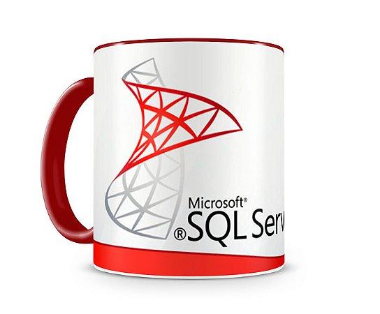 Caneca Linguagem SQL Server color Vermelho