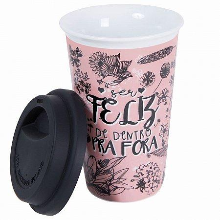 Copo térmico de cerâmica e tampa silicone feliz Rosa