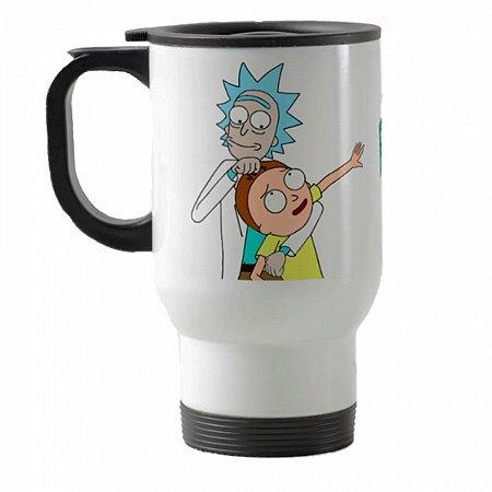 Caneca térmica para carro Rick And Morty mod 1 branco