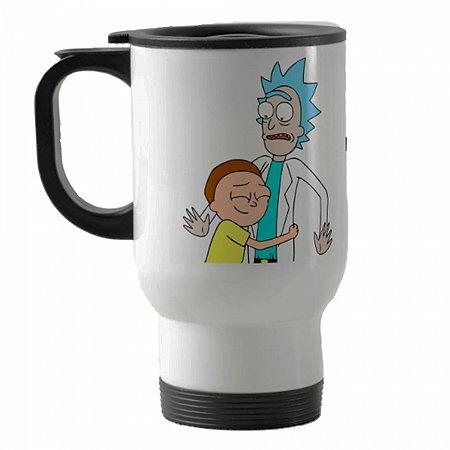 Caneca térmica para carro Rick And Morty mod 3 branco