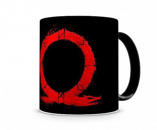 Caneca God Of War Logo Vermelho Preta