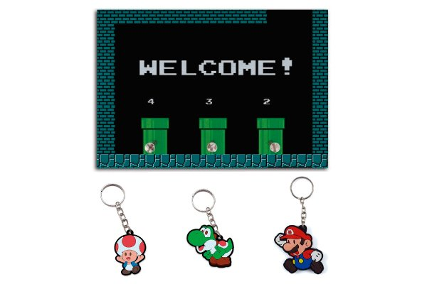 Combo Porta Chaves Welcome Mario + 3 chaveiros