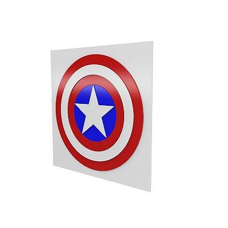 Quadro relevo Capitão América Escudo