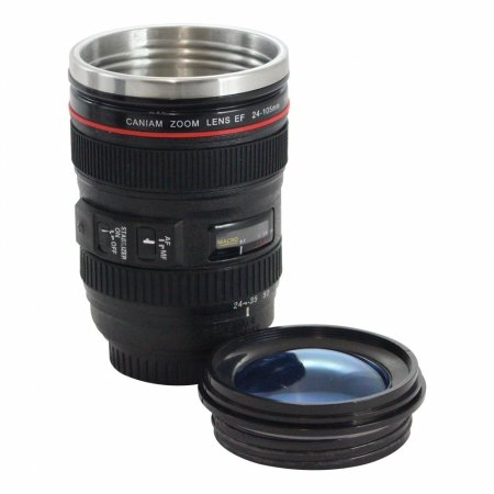 Copo térmico lente fotográfica