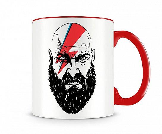 Caneca God Of War Kratos Cross Bowie Vermelha