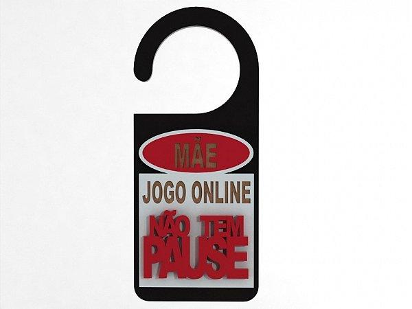 Aviso de Porta relevo Jogo Online - MDF 10x21cm