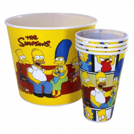 Kit Balde De Pipoca Família The Simpsons