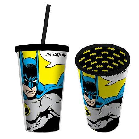 Copo Canudo Plástico Dc I'm Batman