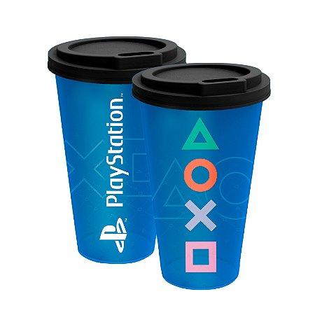 Copo fun 550ml Azul Playstation