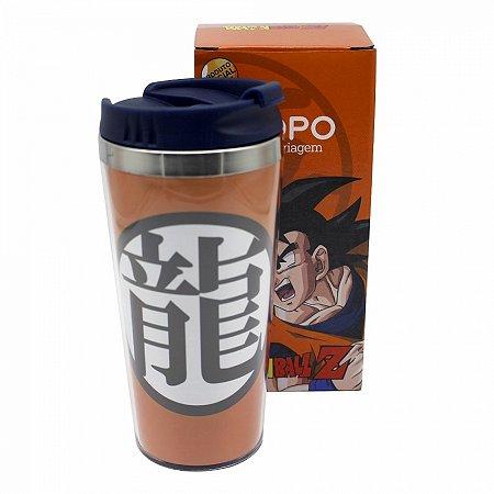 Copo Viagem Dragon Ball Goku simbolo com tampa 450ml