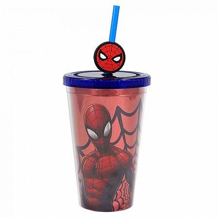Copo Canudo Spider Man com pingente 500ml
