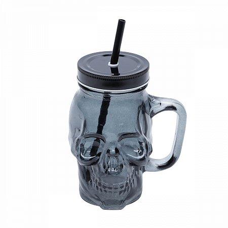 Copo vidro com canudo Skull preto 500ml