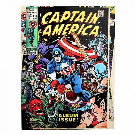 Quadro metal Capitão America HQ  26X19CM