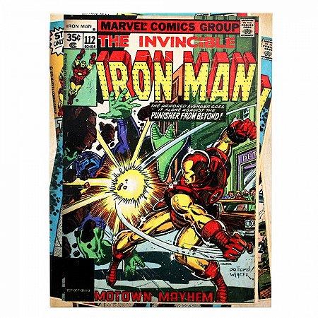 Quadro metal Homem de Ferro HQ 26X19CM
