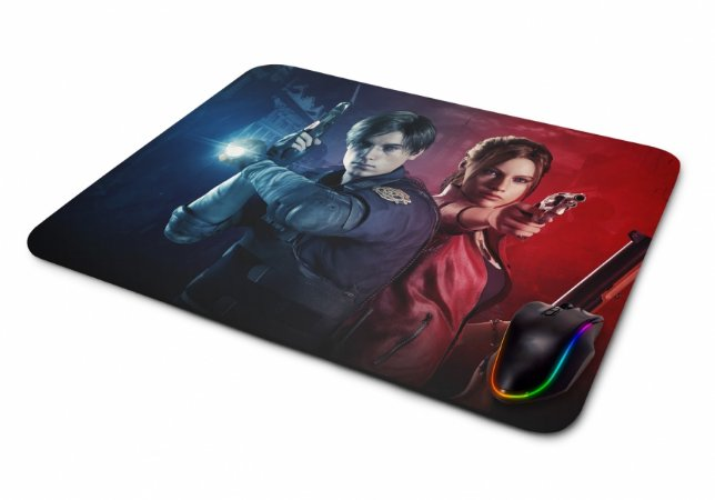 Mouse pad Gamer Resident Evil 2 Claire e Leon