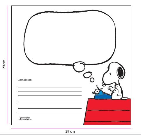 Quadro metal Snoopy Lembretes 29X29CM